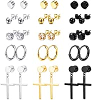 Thunaraz 15Pairs Stainless Steel Stud Earrings Round CZ Non-piercing Magnetic Earrings Cross Earrings Cross Da