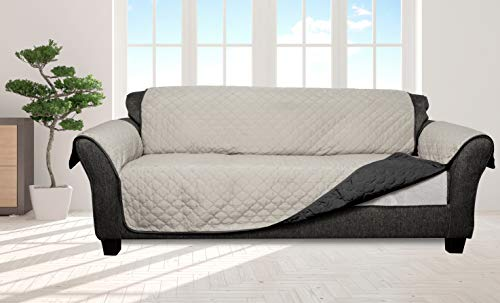 Quick Fit Reversible Water Resistant Slipcover for Sofa Couch Cover with Pockets, Silver-Black