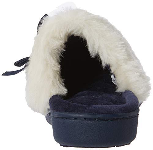 38 Eu Isotoner Slipper Fur Fabricant Faux Mule navy 5uk Nav Femme Pantoufles taille Knit Cuff Blue FqPF1