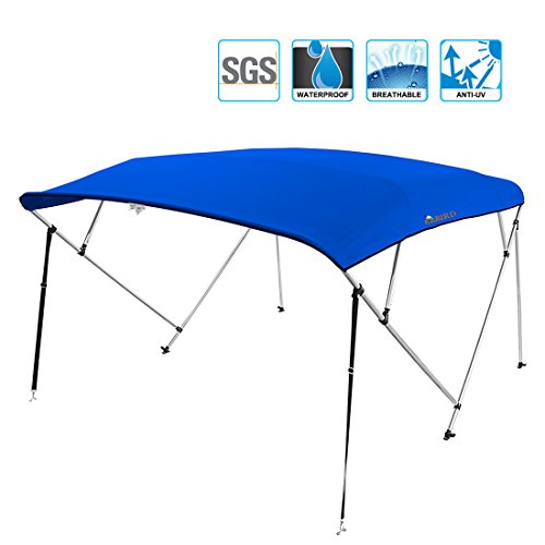 """Kingbird 4 Bow Bimini Boat Top Cover Sun Shade Boat Canopy Waterproof 1 Inch Stainless Aluminum Frame 50"""" Height with Rear Support Poles and Storage Boot (Royal Blue, 91''-96'')"""