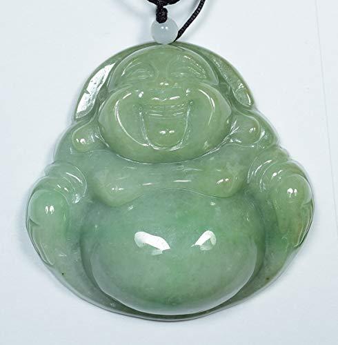 gojade Certified Light Green 100% Natural A Jade Jadeite Pendant Buddha God 开心佛 703036