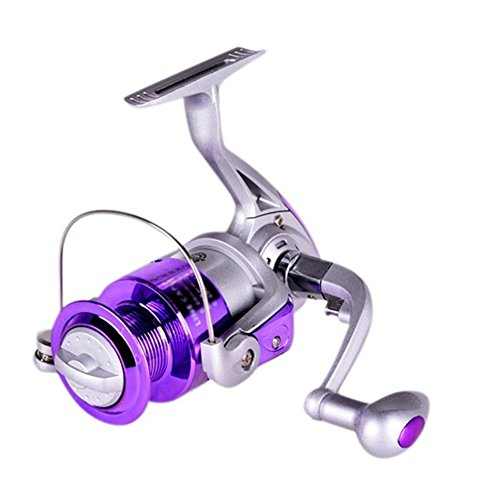 Alamana Fishing Spinning Reel 8BB Ball Bearing 5.2/1 Gear Ratio Wire Metal High-Speed Bearings Fishing Flywheel Silver + Purple 3000