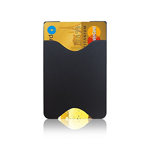 oPesea Slim Design Cell Phone Card Holder(Slim Black),3M Stick on Wallet Sticky on The Phone/Case Back for iPhone,Samsung,LG,Piexl,HTC,BLU ()