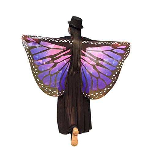 [KESEE Soft Fabric Butterfly Wings Fairy Ladies Nymph Pixie Costume (Purple)] (Orange Adult Butterfly Costumes)
