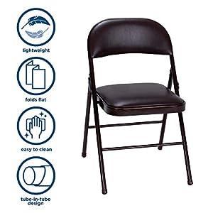 Cosco Vinyl Folding Chair, 4 Pack, Black