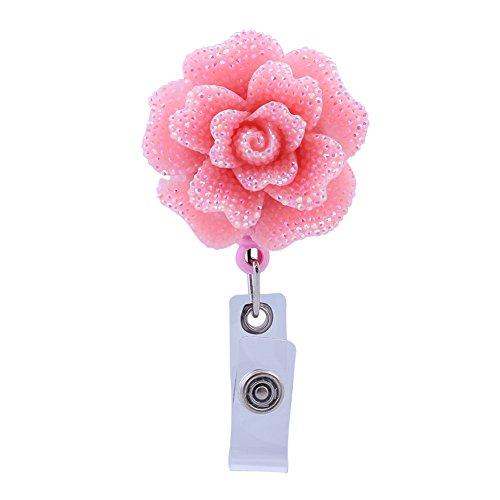 Soleebee 28'' Retractable Badge Reel, Bling Bling Rose Nurse ID Badge Holder Reel with Belt Clip - Pink