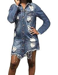 Women Long Sleeve Tunic Dress Denim with Pockets