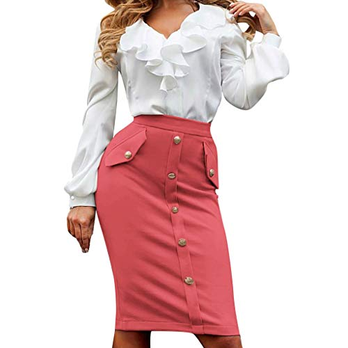 Fashion Womens Bag Hip Skrit Business Tight Fork Open Knee Length Pencil Skirt Pure Color Bodycon Skirt S-Red XL