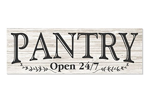 Pantry Open 24/7 White Rustic Wood Wall Sign 6×18 Review
