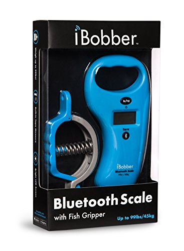 ReelSonar Ibobber Bluetooth Scale Ibobber Bluetooth Fish Scale Tape Measure 99Lb/45kg & Fish Lip Gripper, Blue