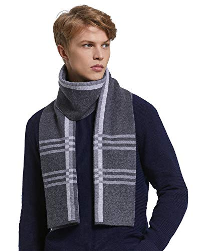 (RIONA Men's 100% Australian Merino Wool Scarf Knitted Soft Warm Neckwear Striped Long Scarves with Gift Box (Grey))