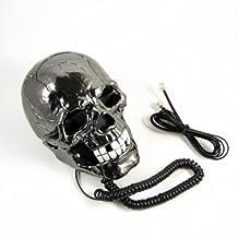 Cool Skull Head Shape Telephone with LED Flash Eyes Desktop Gift