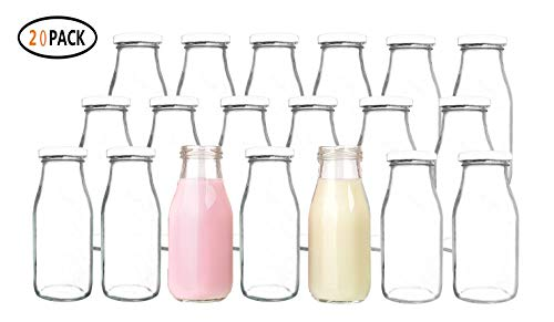 QAPPDA 12 oz Glass Bottles, Glass Milk Bottles with Lids, Vintage Breakfast Shake Container, Vintage Drinking Bottles with Chalkboard Labels and Pen for Party,Kids,Set of 20 ()