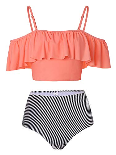 - Kaei&Shi Strapless,Strappy Swimwear,Striped High Waisted Flounce Bikini Set,Tummy Control Swimsuits for Women,Off Shoulder Bathing Suit Orange Pinstripe Medium