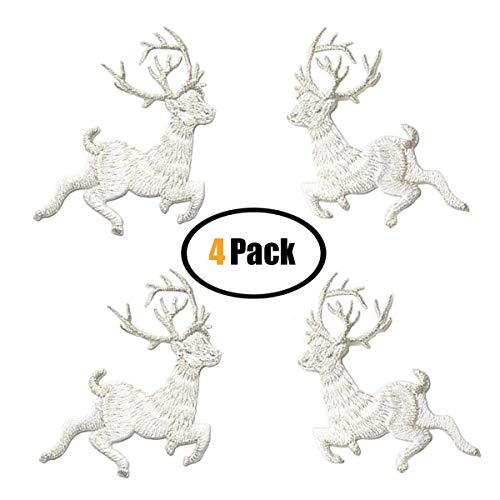 4 Pack Iron on Patches, Sew On Applique Patches, Christmas Elk Embroidery Applique Patch For Clothes Backpacks T-shirt Jeans Skirt Vests Scar (Silvery White)