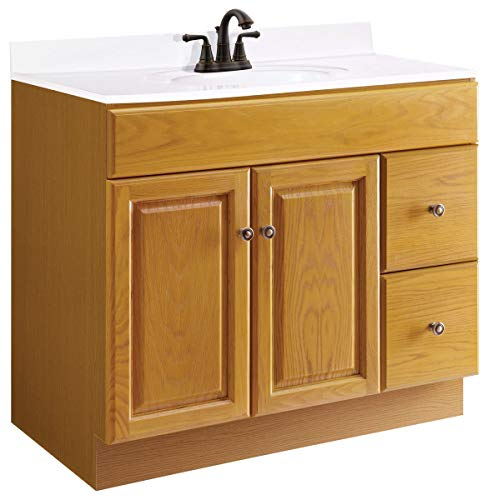 2 Drawer Oak Vanity - Design House 545178 Claremont Honey Oak Vanity Cabinet with 2-Doors and 2-Drawers, 36-Inches by 18-Inches by 31.5-Inches