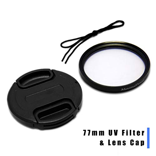 Maximal Power UV Protection Camera Lens Filter 77mm with CA Lens Cap