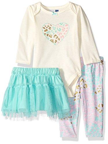 - Vitamins Baby Baby Girls' 3 Piece Skirt Legging Set, Leopard Heart, 3 Months