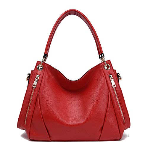 Cuero Cruzado Bolso Red Satchel Con color Clase Genuino De Bandolera Red Kervinzhang qt6n8wfT6