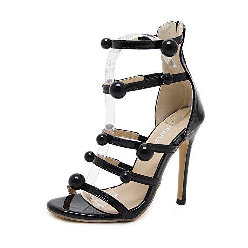Mujer Alta Tacón Hueco Sandalias GZSL-938-141 Accesorios De Cuentas Finas Sexy Fiesta Baile Zapatos Stiletto Plataforma,KJJDE Black