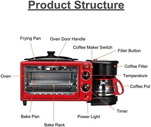 DDL Brotbackmaschine Toaster 3-in-1 Multifunktions-Frühstück-Maschine Kaffeekanne Bratpfanne Ofen Brotback Maker Spiegelei Kaffee-Kocher 220V (rot)