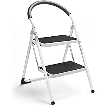 Delxo 2 Step Ladder Folding Step Stool Steel Stepladders With Handgrip  Anti Slip Sturdy And