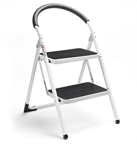 Delxo 2 Step Stool Folding Step Stool Steel Stepladders with Handgrip Anti-Slip Sturdy and Wide Pedal Steel Ladder 330lbs White and Black Combo 2-Feet (WK2061A-2) (2 Step Stool) ()