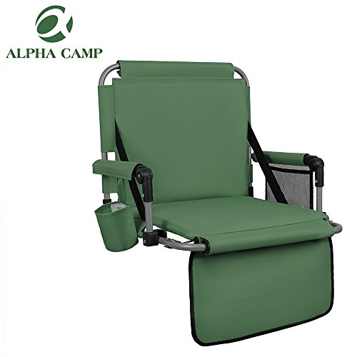 ALPHA CAMP Stadium Seat Chair for Bleachers with Back& Arm Rest - Green