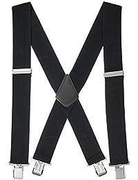 """48'' Men's Heavy Duty 2"""" Wide Elastic Adjustable X Back Suspender"""
