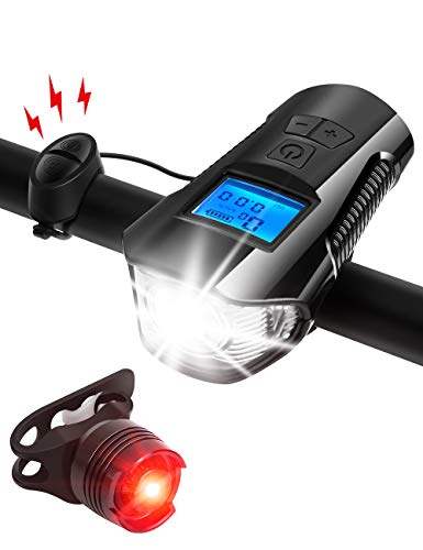 AIRSOFTPEAK Bike Light Set Bike Lights Front and Back Bicycle Speedometer Bike Light Odometer USB Rechargeable Bicycle Headlight Free Taillight with Horn Alarm Bell for Safe Cycling