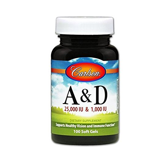Carlson Labs Vitamin A&D 25000/1000iu Softgels, 100 Count