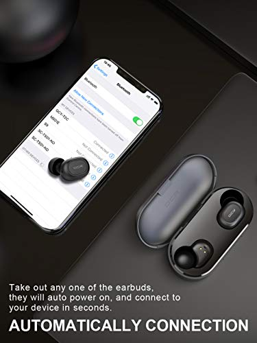 Tepoinn Wireless Earbuds, Bluetooth 5.0 True Wireless Earphones with Microphone,One-Step Pairing,35H Playing in-Ear Bluetooth Headphones Sports Headset, Black