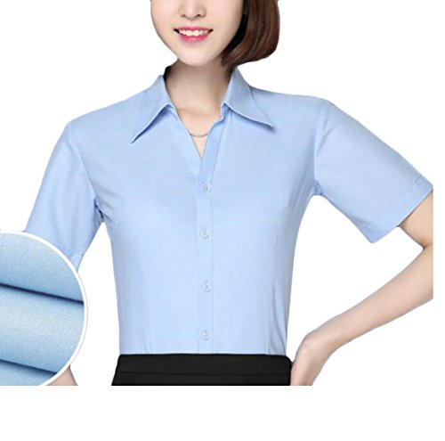 (KLJR-Women Short Sleeve Non-Iron Solid Career Blouse Shirt Top Two US X-L)