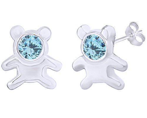 14k Teddy Bear Ring (Mothers Gift Simulated Aquamarine Cute Teddy Bear Stud Earrings 14K White Gold Over Sterling Silver)