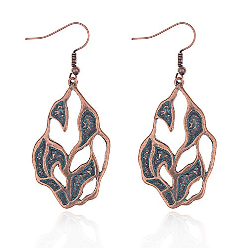 ZHUBAOO Leaves Red Copper Earrings Vintage Ladies Dangle Earrings Pendants ()