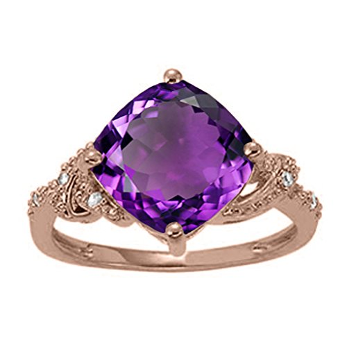 3.25 Ct. Ttw Diamond And Cushion Shaped Amethyst Ring In 10K Rose Gold