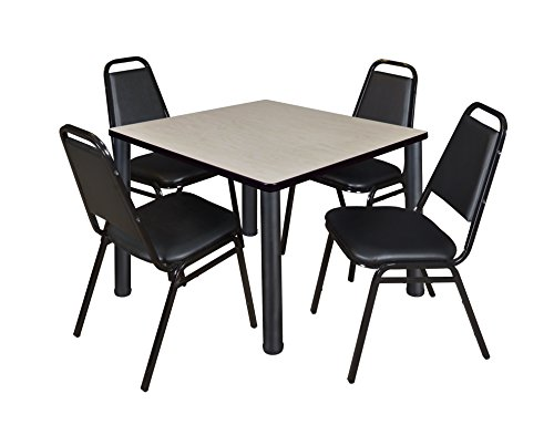 "Kee 36"" Square Breakroom Table- Maple/ Black & 4 Restaurant Stack Chairs- Black"