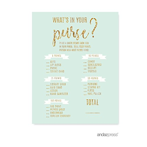 Price comparison product image Andaz Press Mint Green Gold Glitter Print Wedding Collection,  What's in Your Purse Bridal Shower Game Cards,  20-Pack