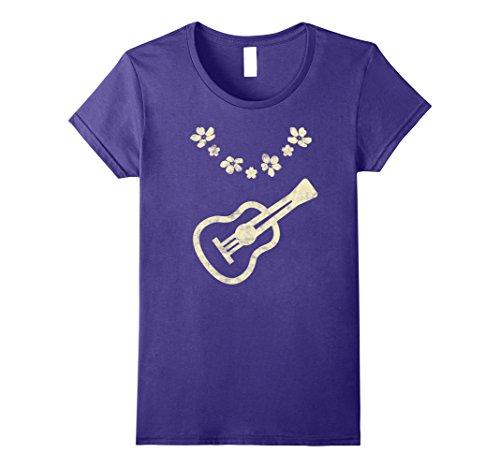 Womens Cool Vintage Hawaiian Air Ukulele With Flower Lei T-Shirt Small Purple (Ukulele Lei)