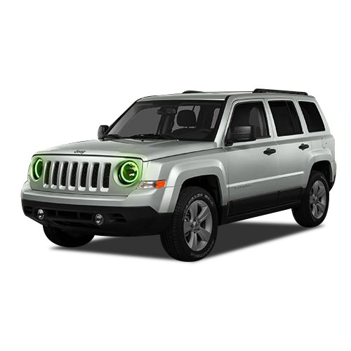 Led Color 7 Rings - FLASHTECH Jeep Patriot 07-16 Green Single Color LED Halo Ring Headlight Kit