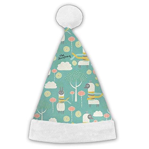 ChengGo Llama Animal Fun Santa Hat  Plush Trim For Family Woman Elf Christmas Headwear Weekend by ChengGo