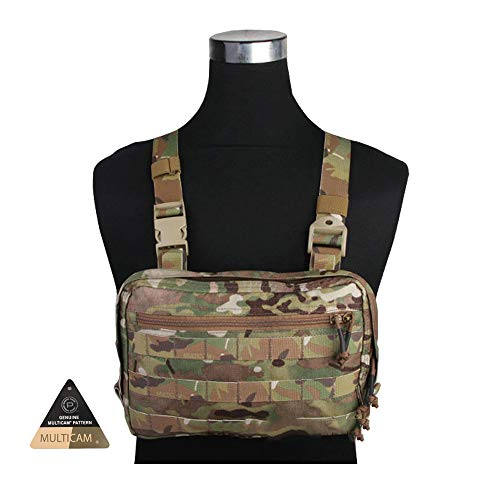 (KRYDEX Tactical MOLLE Pouch Chest Recon Kit Bag Multi-functional Concealed Tool Pouch Combat MOLLE Vest Pouch Plenty of Compartments EDC Chest Bag for Airsoft,Hiking, Bicycling,Motorcycle Riding MC)