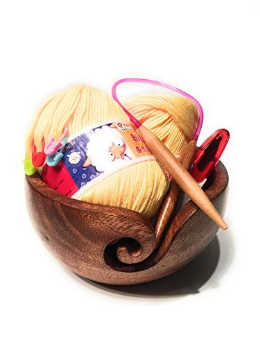 Knitter's Gift Set - Yarn Bowl & Accessories for Crochet & Knitting by Be Amaysing