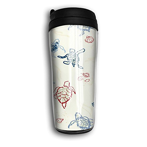 Insulated Water Bottle, Funny Turtles Portable Insulated Organic Coffee Mug Carry Hand Cup Reusable Plastic Curve Travel Mug Coffee Tumbler For Women Men Kids Teens Adults