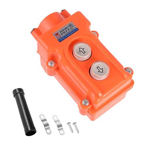 uxcell Rainproof Hoist Crane Pendant Control Station Push Button Switch Up Down 2 Ways Orange
