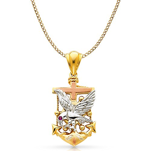 14K Tri Color Gold Eagle Anchor Charm Pendant with 4.9mm Hollow Cuban Chain Necklace - 22