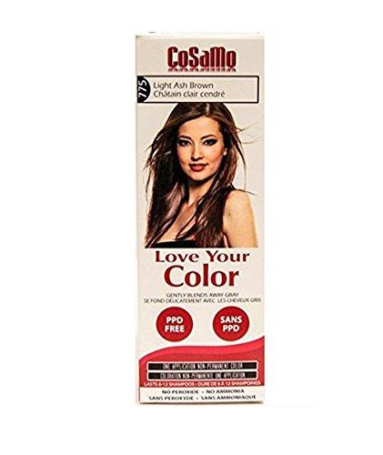 CoSaMo - Love Your Color Non-Permanent Hair Color 775 Light Ash Brown - 3 oz. + Makeup Blender Stick, 12 Pcs ()