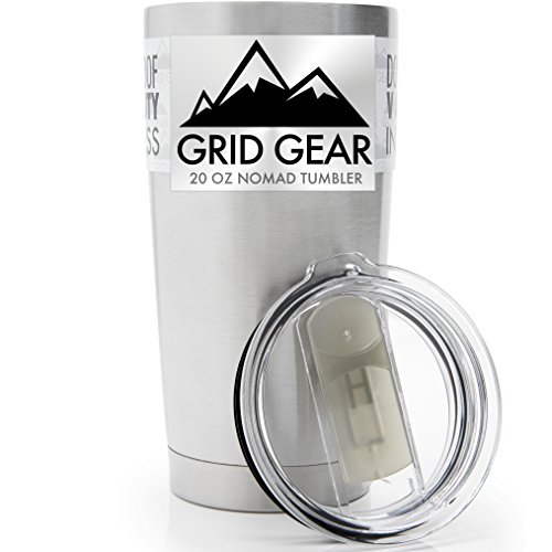 20 Ounce Tumbler, Double Wall Vacuum Insulated Stainless Steel, Grid Gear Nomad (20 oz Slide-Close Lid)