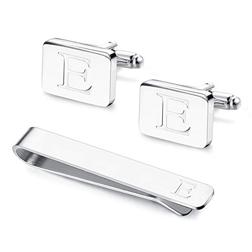 Udalyn Engraved Initial Cufflinks and Tie Clips Set for Men Wedding Business Jewelry Alphabet A-Z