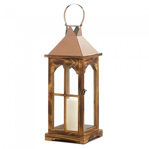 Zings & Thingz 57074117 Large Rustic Rose Gold Accent Lantern, Brown